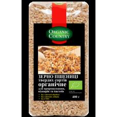 Зерно пшеницы твердых сортов для проращивания, отваров и настоев органическое, Украина, 400 г, ORGANIC COUNTRY