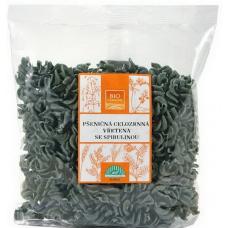 Органические макаронные изделия спиральки из пшеничной цельнозерновой муки со спирулиной, без яиц, 250 гр, BIOHARMONIE, Чехія